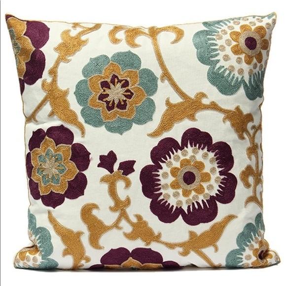 Uniifurn Accents Uniifurn Embroidered Flower Throw Pillow Cover Poshmark
